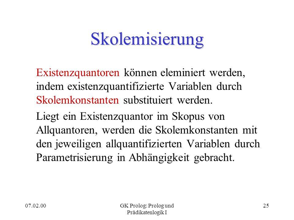 07.02.00GK Prolog: Prolog und Prädikatenlogik I 26 Skolemisierung: Beispiele y x ((man(x) (woman(y)) loves(x,y)) x ((man(x) woman(G)) loves(x,G)) x (man(x) y (woman(y) loves(x,y))) x (man(x) (woman(G(x)) loves(x,G(x))))