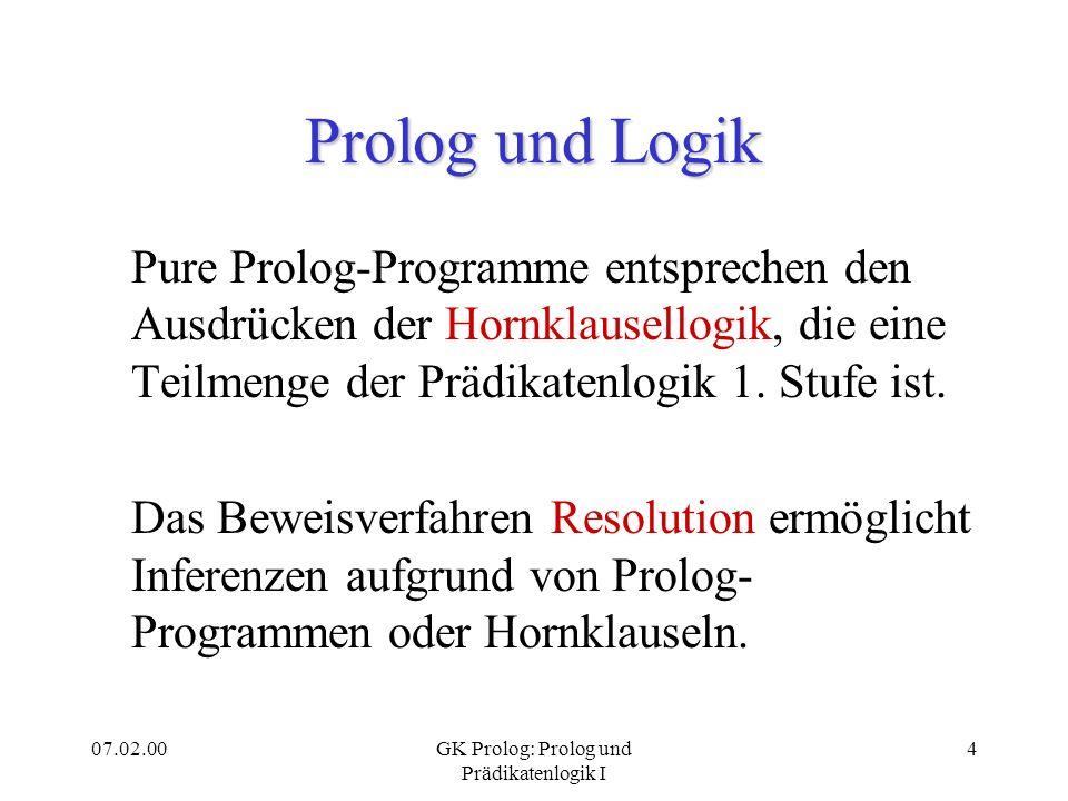 07.02.00GK Prolog: Prolog und Prädikatenlogik I 4 Prolog und Logik Pure Prolog-Programme entsprechen den Ausdrücken der Hornklausellogik, die eine Tei