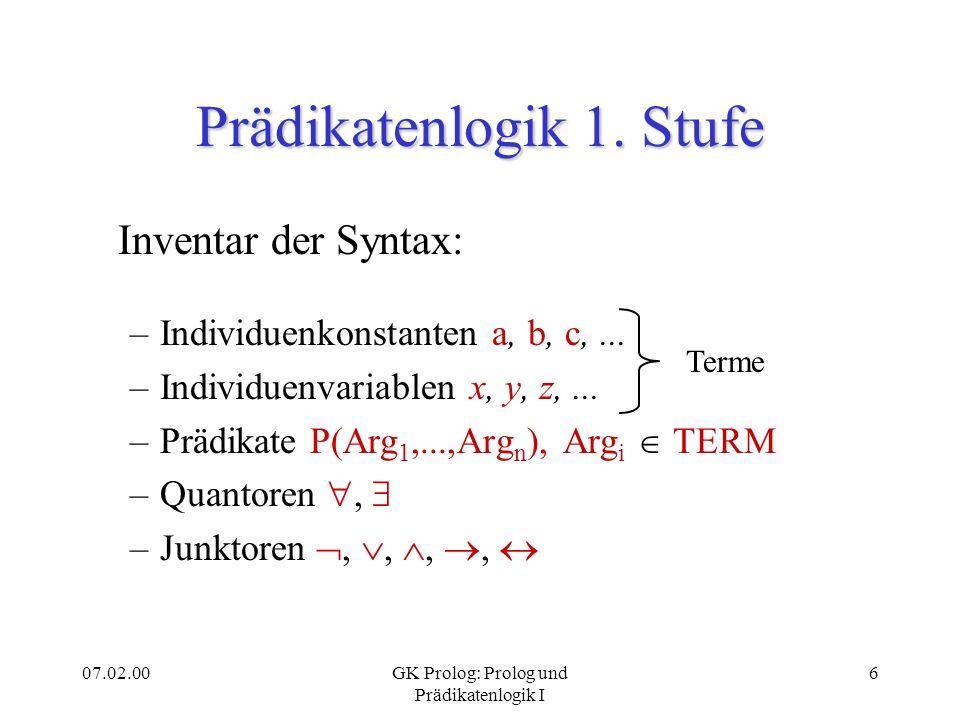 07.02.00GK Prolog: Prolog und Prädikatenlogik I 6 Prädikatenlogik 1. Stufe Inventar der Syntax: –Individuenkonstanten a, b, c,... –Individuenvariablen