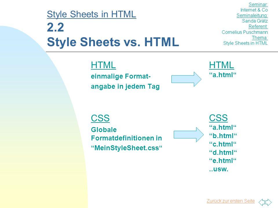 Zurück zur ersten Seite HTML einmalige Format- angabe in jedem Tag CSS Globale Formatdefinitionen in MeinStyleSheet.css Style Sheets in HTML 2.2 Style Sheets vs.