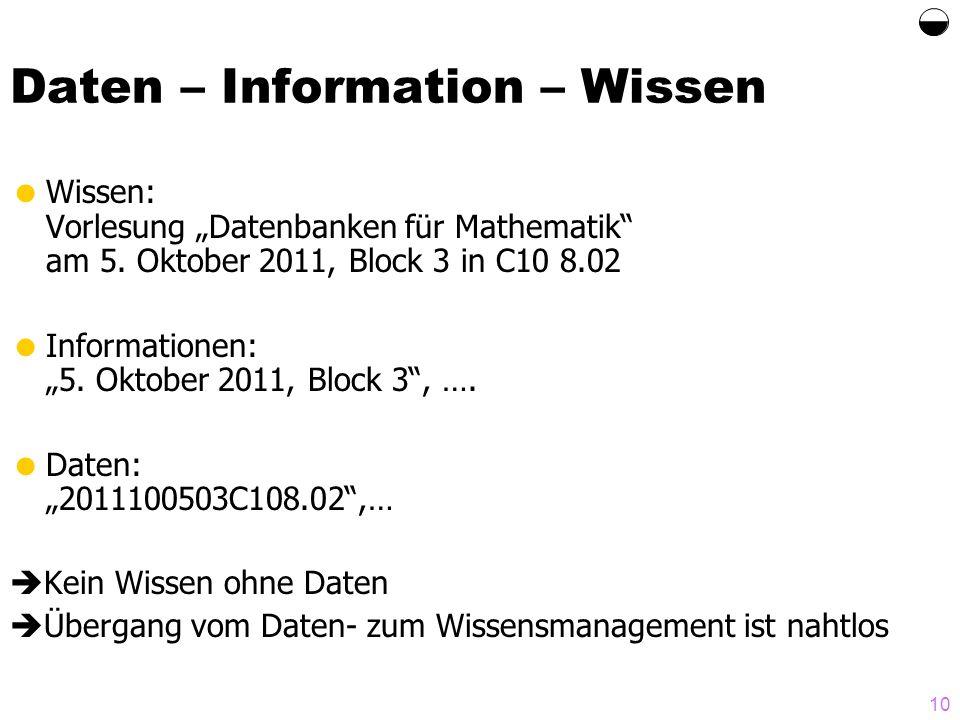 10 Daten – Information – Wissen Wissen: Vorlesung Datenbanken für Mathematik am 5. Oktober 2011, Block 3 in C10 8.02 Informationen: 5. Oktober 2011, B