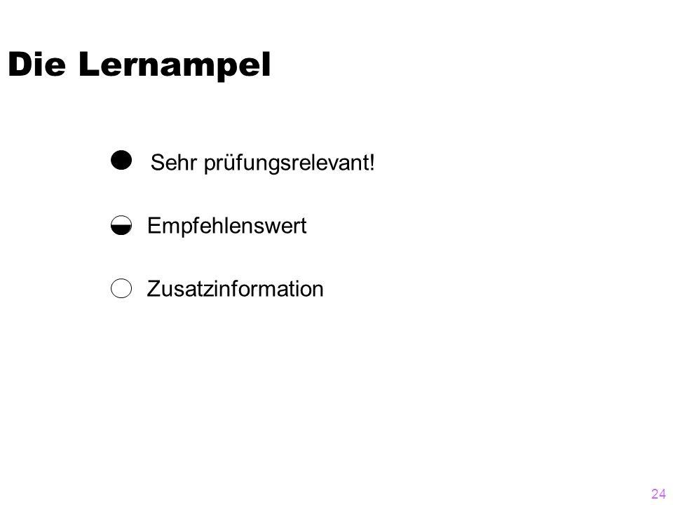 24 Die Lernampel Zusatzinformation Empfehlenswert Sehr prüfungsrelevant!
