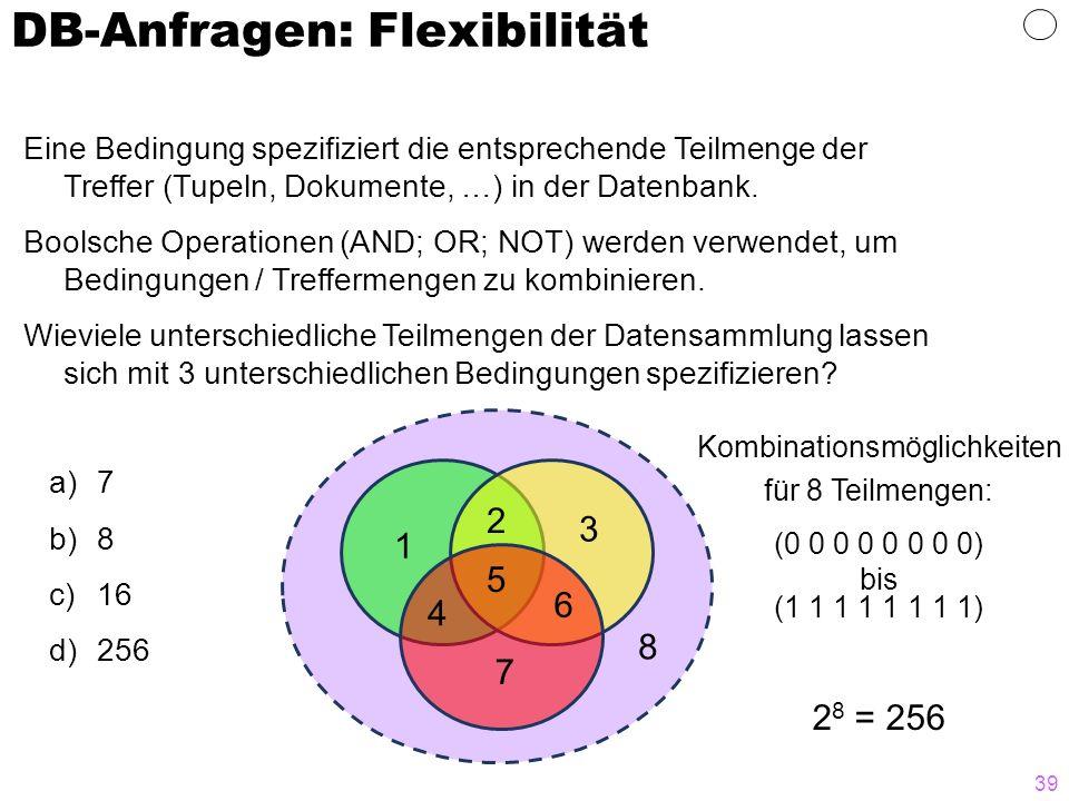 39 DB-Anfragen: Flexibilität Eine Bedingung spezifiziert die entsprechende Teilmenge der Treffer (Tupeln, Dokumente, …) in der Datenbank. Boolsche Ope