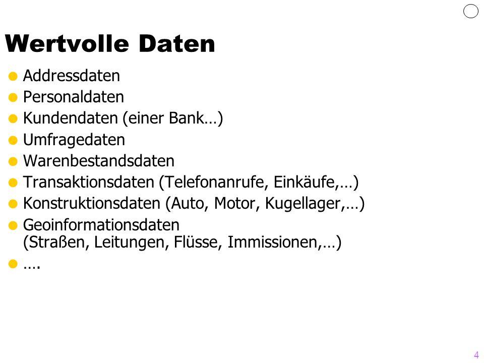 4 Wertvolle Daten Addressdaten Personaldaten Kundendaten (einer Bank…) Umfragedaten Warenbestandsdaten Transaktionsdaten (Telefonanrufe, Einkäufe,…) K