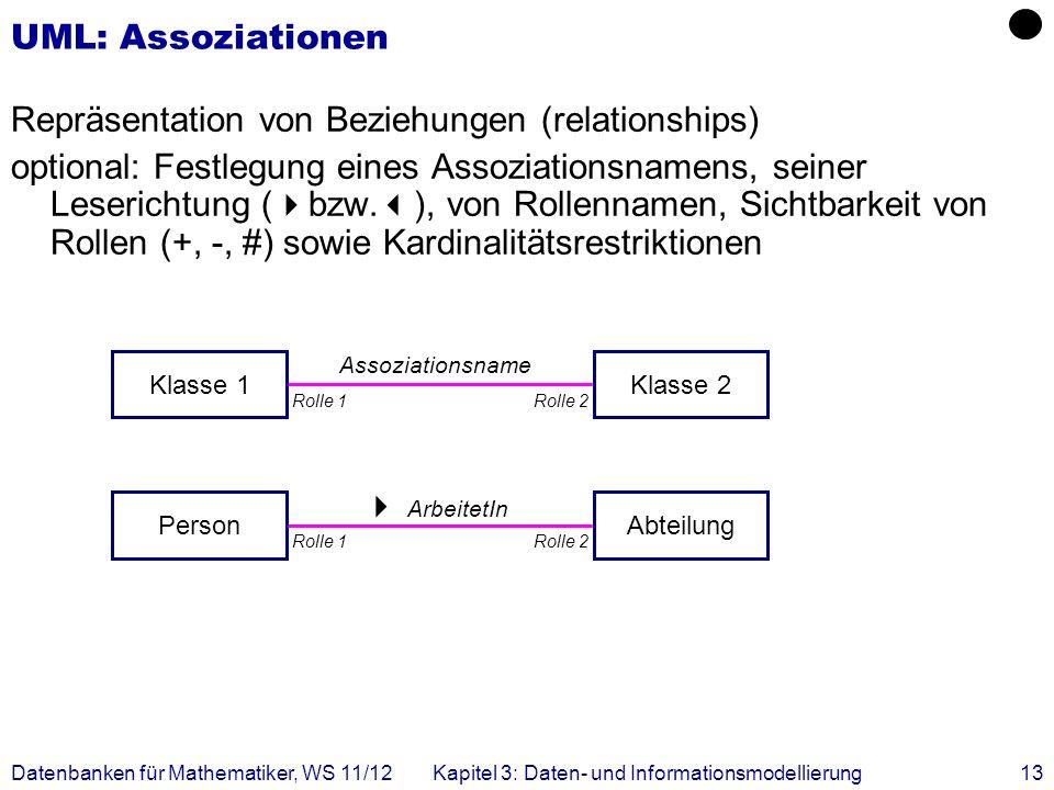 Datenbanken für Mathematiker, WS 11/12Kapitel 3: Daten- und Informationsmodellierung13 ArbeitetIn Assoziationsname UML: Assoziationen Repräsentation von Beziehungen (relationships) optional: Festlegung eines Assoziationsnamens, seiner Leserichtung ( bzw.