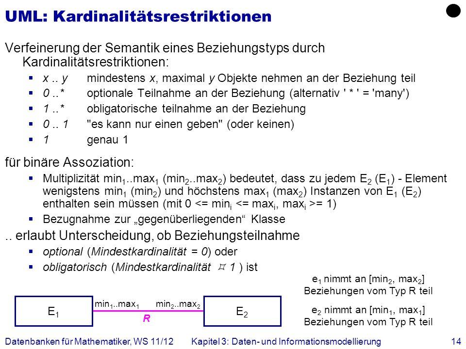 Datenbanken für Mathematiker, WS 11/12Kapitel 3: Daten- und Informationsmodellierung14 R min 2..max 2 UML: Kardinalitätsrestriktionen Verfeinerung der Semantik eines Beziehungstyps durch Kardinalitätsrestriktionen: x..