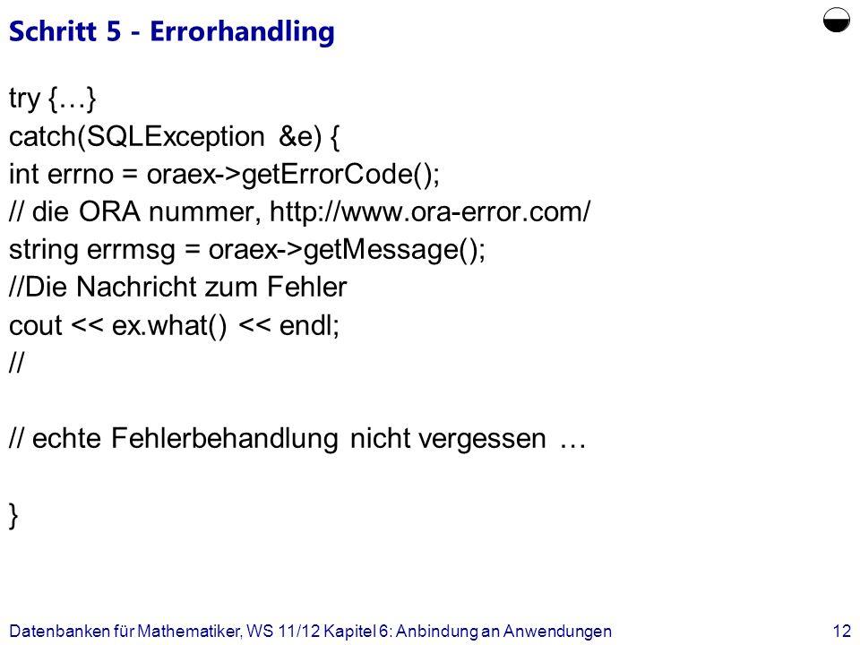 Schritt 5 - Errorhandling try {…} catch(SQLException &e) { int errno = oraex->getErrorCode(); // die ORA nummer, http://www.ora-error.com/ string errm