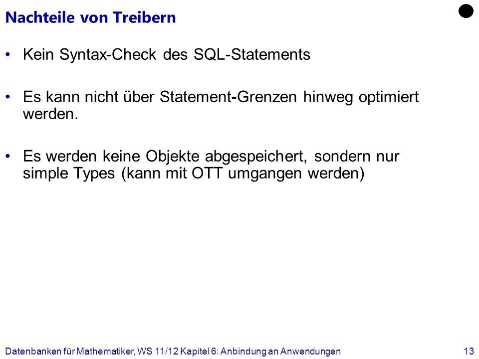 Nachteile von Treibern Kein Syntax-Check des SQL-Statements Es kann nicht über Statement-Grenzen hinweg optimiert werden. Es werden keine Objekte abge