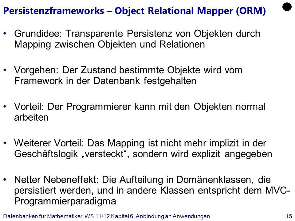 Persistenzframeworks – Object Relational Mapper (ORM) Grundidee: Transparente Persistenz von Objekten durch Mapping zwischen Objekten und Relationen V