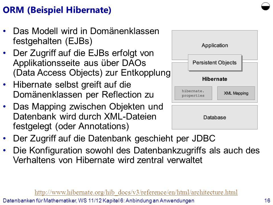 ORM (Beispiel Hibernate) Datenbanken für Mathematiker, WS 11/12 Kapitel 6: Anbindung an Anwendungen16 http://www.hibernate.org/hib_docs/v3/reference/e