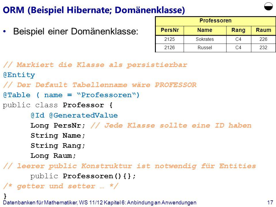ORM (Beispiel Hibernate; Domänenklasse) Beispiel einer Domänenklasse: // Markiert die Klasse als persistierbar @Entity // Der Default Tabellenname wär