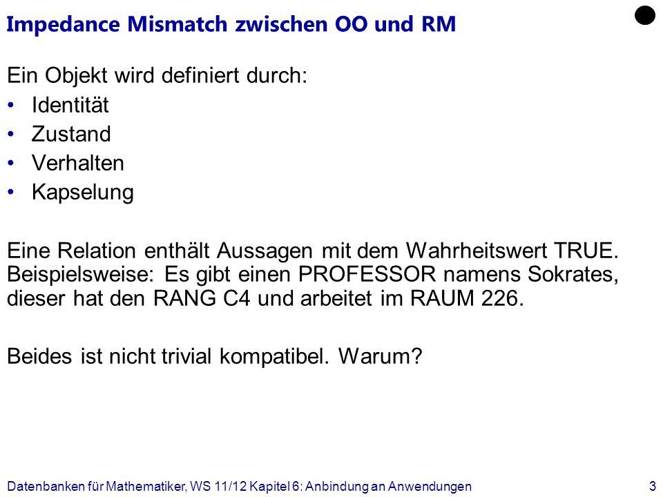 Impedance Mismatch zwischen OO und RM Ein Objekt wird definiert durch: Identität Zustand Verhalten Kapselung Eine Relation enthält Aussagen mit dem Wa