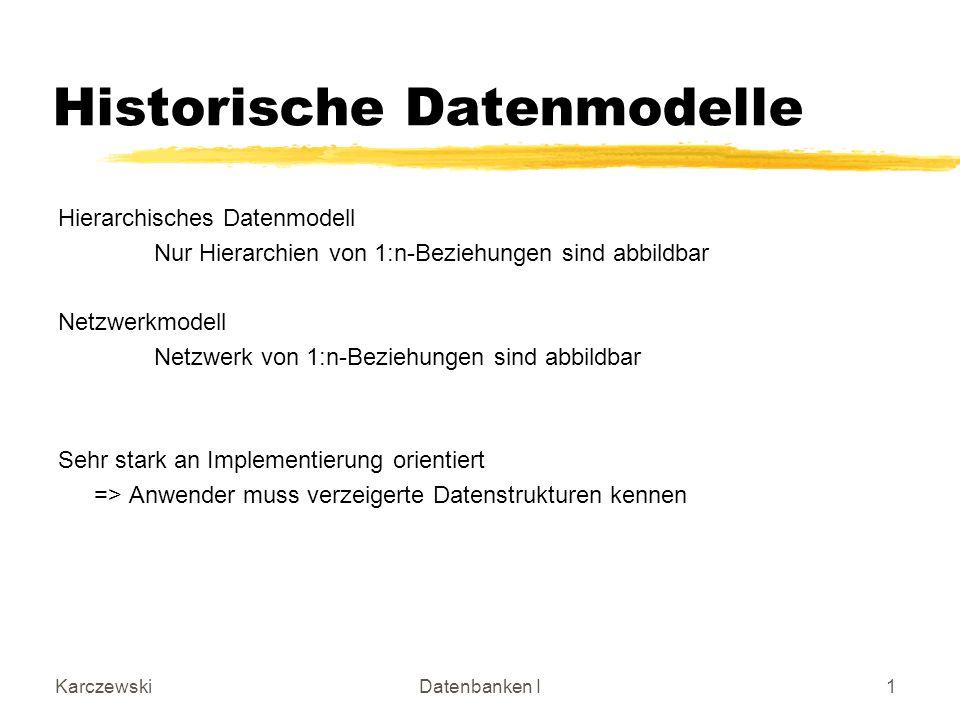 KarczewskiDatenbanken I1 Historische Datenmodelle Hierarchisches Datenmodell Nur Hierarchien von 1:n-Beziehungen sind abbildbar Netzwerkmodell Netzwer
