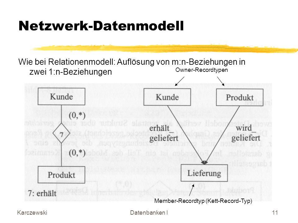 KarczewskiDatenbanken I11 Netzwerk-Datenmodell Wie bei Relationenmodell: Auflösung von m:n-Beziehungen in zwei 1:n-Beziehungen Owner-Recordtypen Membe