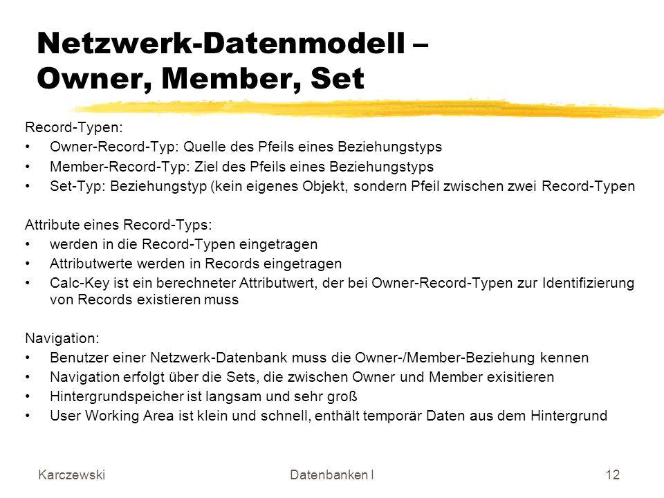 KarczewskiDatenbanken I12 Netzwerk-Datenmodell – Owner, Member, Set Record-Typen: Owner-Record-Typ: Quelle des Pfeils eines Beziehungstyps Member-Reco