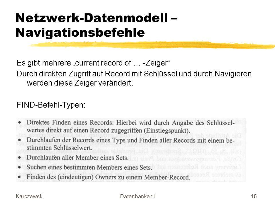 KarczewskiDatenbanken I15 Netzwerk-Datenmodell – Navigationsbefehle Es gibt mehrere current record of … -Zeiger Durch direkten Zugriff auf Record mit