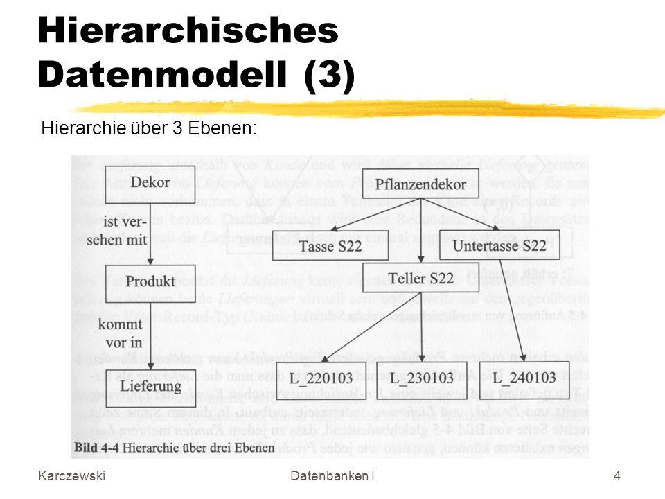 KarczewskiDatenbanken I4 Hierarchisches Datenmodell (3) Hierarchie über 3 Ebenen: