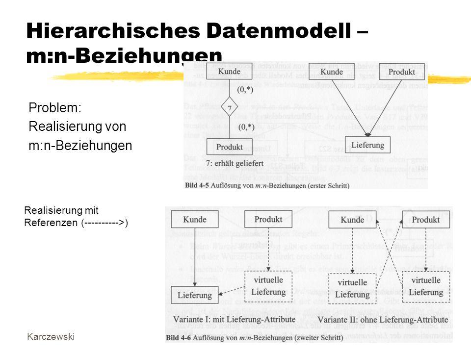 KarczewskiDatenbanken I5 Hierarchisches Datenmodell – m:n-Beziehungen Problem: Realisierung von m:n-Beziehungen Realisierung mit Referenzen (---------