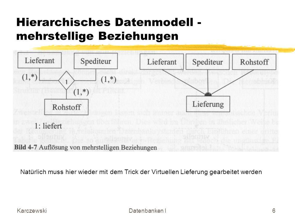 KarczewskiDatenbanken I6 Hierarchisches Datenmodell - mehrstellige Beziehungen Natürlich muss hier wieder mit dem Trick der Virtuellen Lieferung gearb