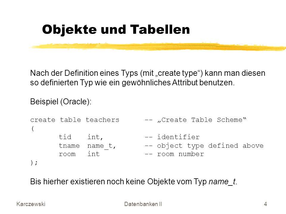 KarczewskiDatenbanken II35 Beispiel (Personen und ihre Mitarbeiter (dependents)): create type name_t as object-- Create Object Type ( lnamevarchar(30),-- last name michar(1),-- middle initial fnamevarchar(30)-- first name ); / create type person_t as object ( ssnoint, pnamename_t,-- must be defined first ageint ); / create type depPerson_t as table of person_t; / User Defined Functions