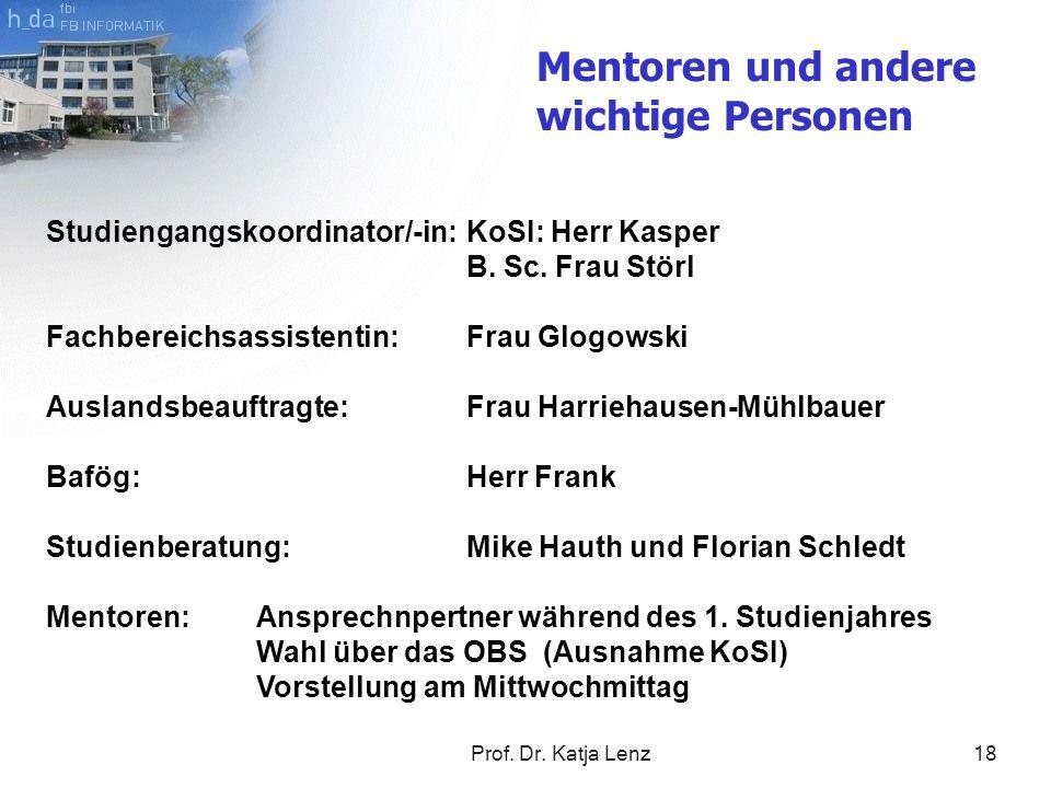 Prof. Dr. Katja Lenz18 Mentoren und andere wichtige Personen Studiengangskoordinator/-in:KoSI: Herr Kasper B. Sc. Frau Störl Fachbereichsassistentin:F