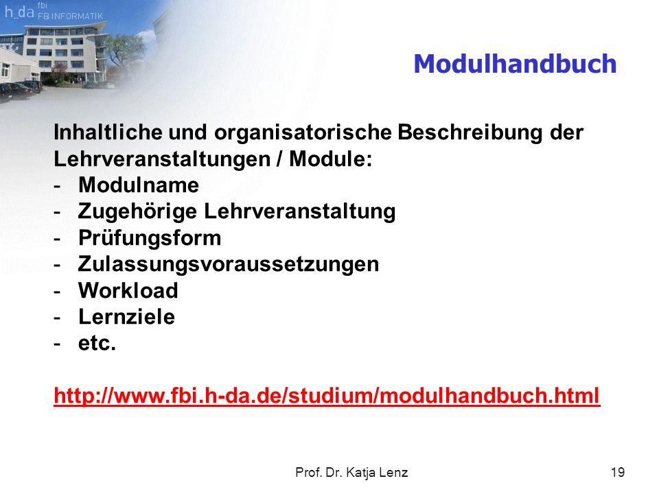 Prof. Dr. Katja Lenz19 Modulhandbuch Inhaltliche und organisatorische Beschreibung der Lehrveranstaltungen / Module: -Modulname -Zugehörige Lehrverans