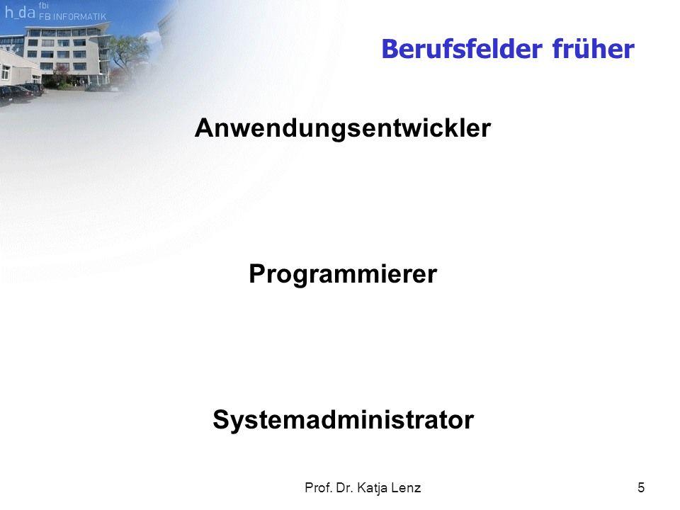 Prof. Dr. Katja Lenz6 Anwendungsentwickler Programmierer Systemadministrator