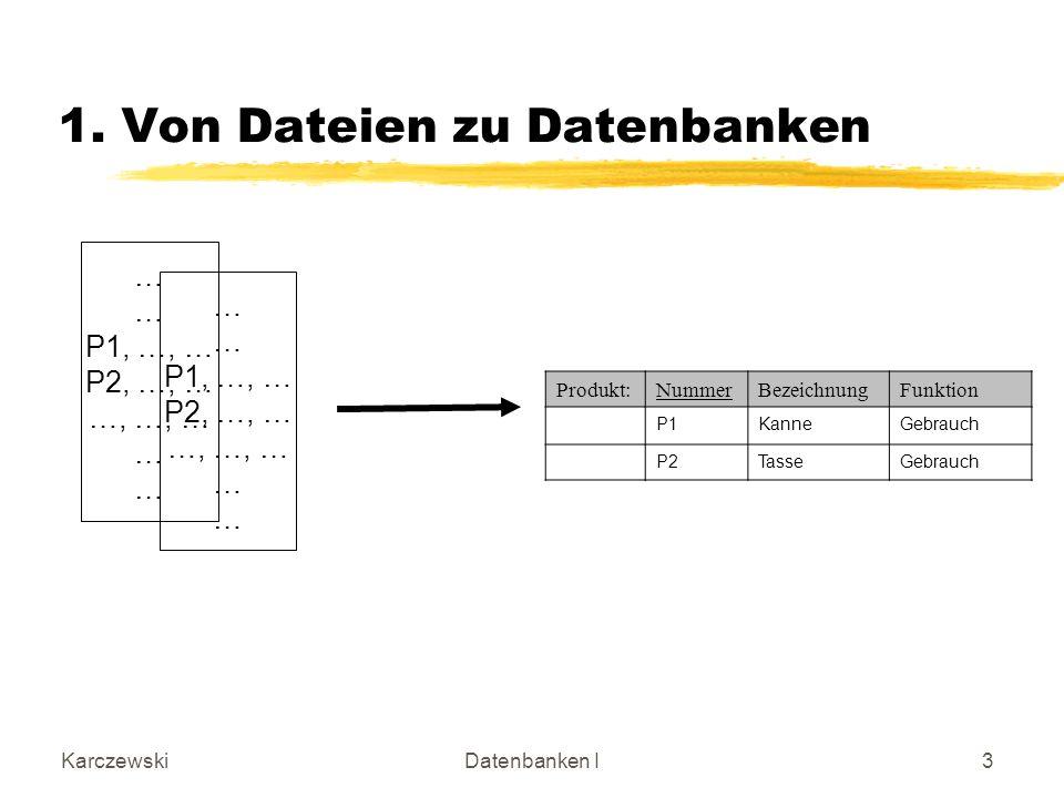KarczewskiDatenbanken I3 1. Von Dateien zu Datenbanken … P1, …, … P2, …, … …, …, … … P1, …, … P2, …, … …, …, … … Produkt:NummerBezeichnungFunktion P1K