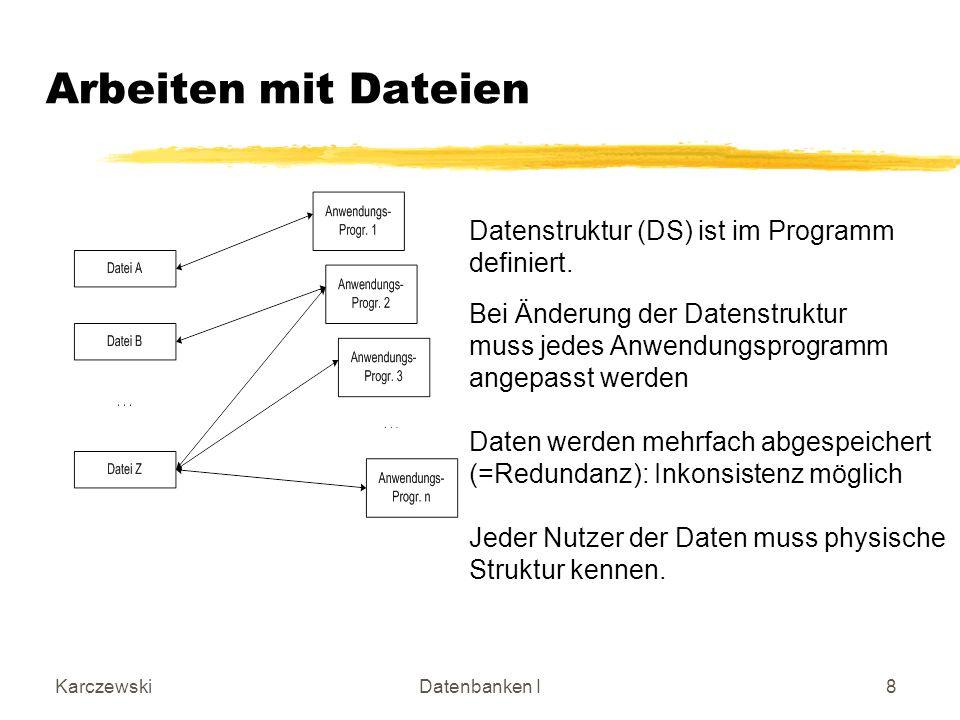 KarczewskiDatenbanken I9 Arbeiten mit einem Datenbanksystem (DBS) Anwendungsprogramme greifen über das DBMS auf die Daten zu DBMS ist Zugriffsfilter Identische Daten werden nur einfach abgespeichert Bei Änderung der Datenstruktur muss nur einmal im DBS geändert werden.