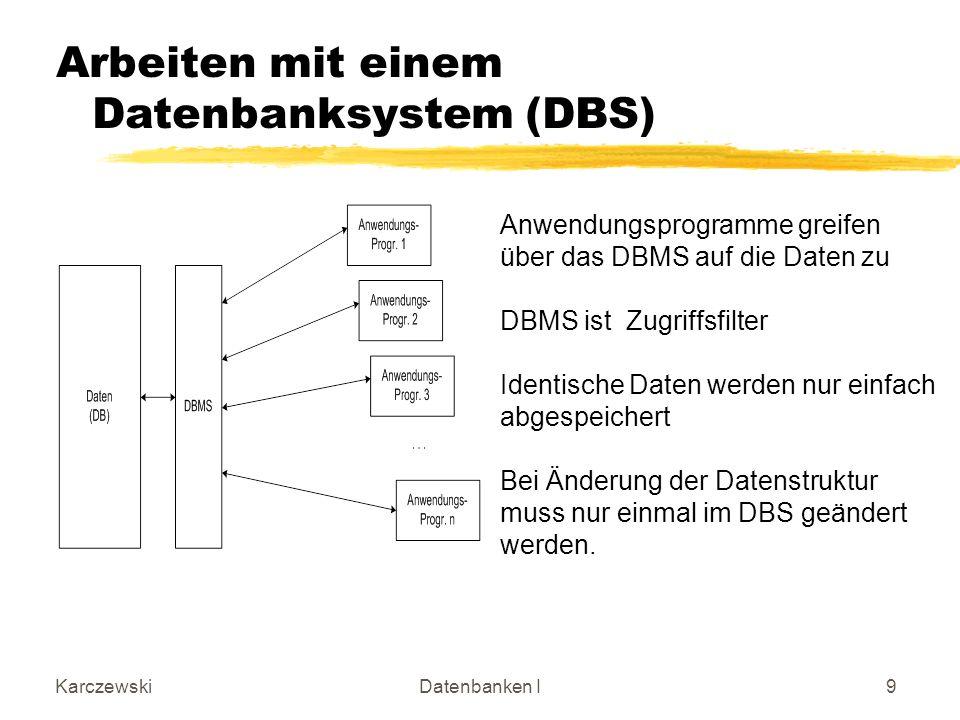 KarczewskiDatenbanken I9 Arbeiten mit einem Datenbanksystem (DBS) Anwendungsprogramme greifen über das DBMS auf die Daten zu DBMS ist Zugriffsfilter I