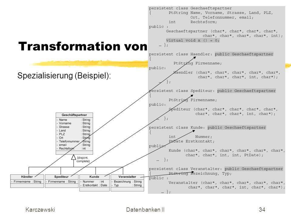 KarczewskiDatenbanken II35 Anzeigen einer Kollektion Alle Produkte der Keramik-Datenbank: Vergleichbar mit dem Cursor von relationalen Datenbanken Get liefert nächstes relevantes Element Unget gibt benutztes Element wieder frei