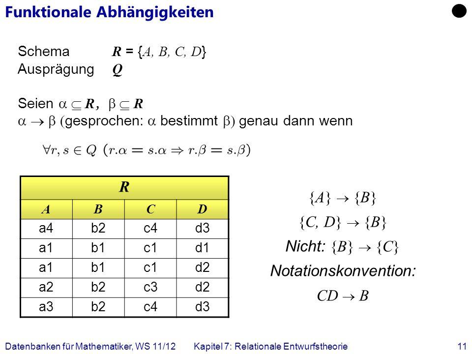 Datenbanken für Mathematiker, WS 11/12Kapitel 7: Relationale Entwurfstheorie11 Funktionale Abhängigkeiten Schema R = { A, B, C, D } Ausprägung Q Seien