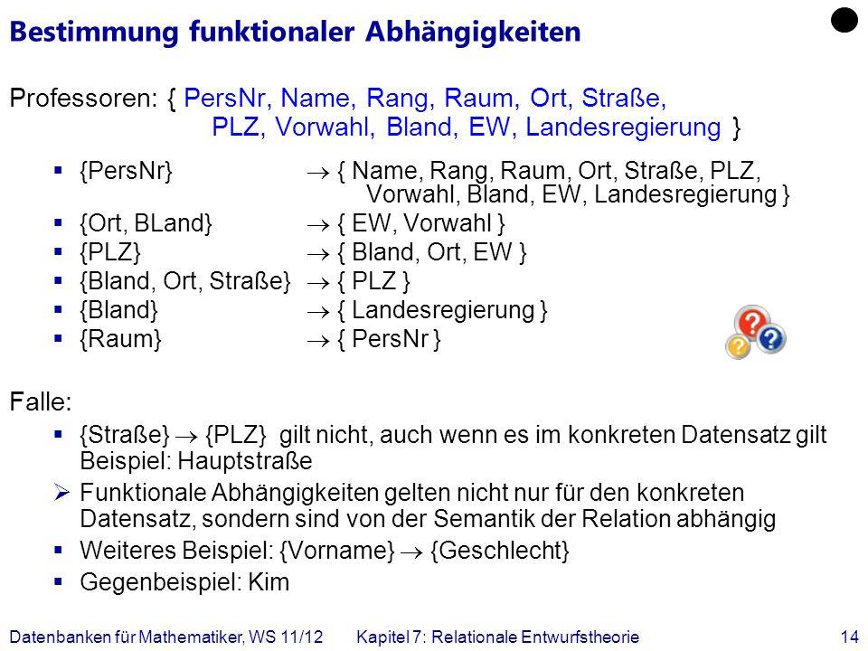 Datenbanken für Mathematiker, WS 11/12Kapitel 7: Relationale Entwurfstheorie14 Bestimmung funktionaler Abhängigkeiten Professoren: { PersNr, Name, Ran