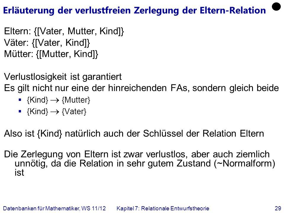 Datenbanken für Mathematiker, WS 11/12Kapitel 7: Relationale Entwurfstheorie29 Erläuterung der verlustfreien Zerlegung der Eltern-Relation Eltern: {[V