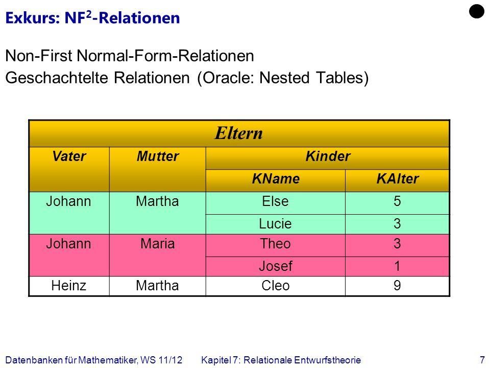 Datenbanken für Mathematiker, WS 11/12Kapitel 7: Relationale Entwurfstheorie7 Exkurs: NF 2 -Relationen Non-First Normal-Form-Relationen Geschachtelte