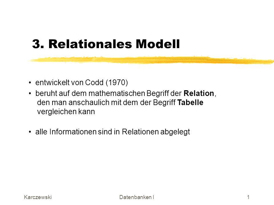 KarczewskiDatenbanken I22 Es können (theoretisch) alle Attribute in ein Relationenschema aufgenommen werden, d.