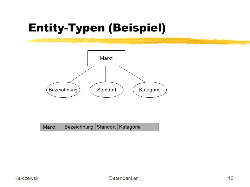 KarczewskiDatenbanken I10 Entity-Typen (Beispiel) Markt BezeichnungStandortKategorie Bezeichnung Standort Kategorie Markt: