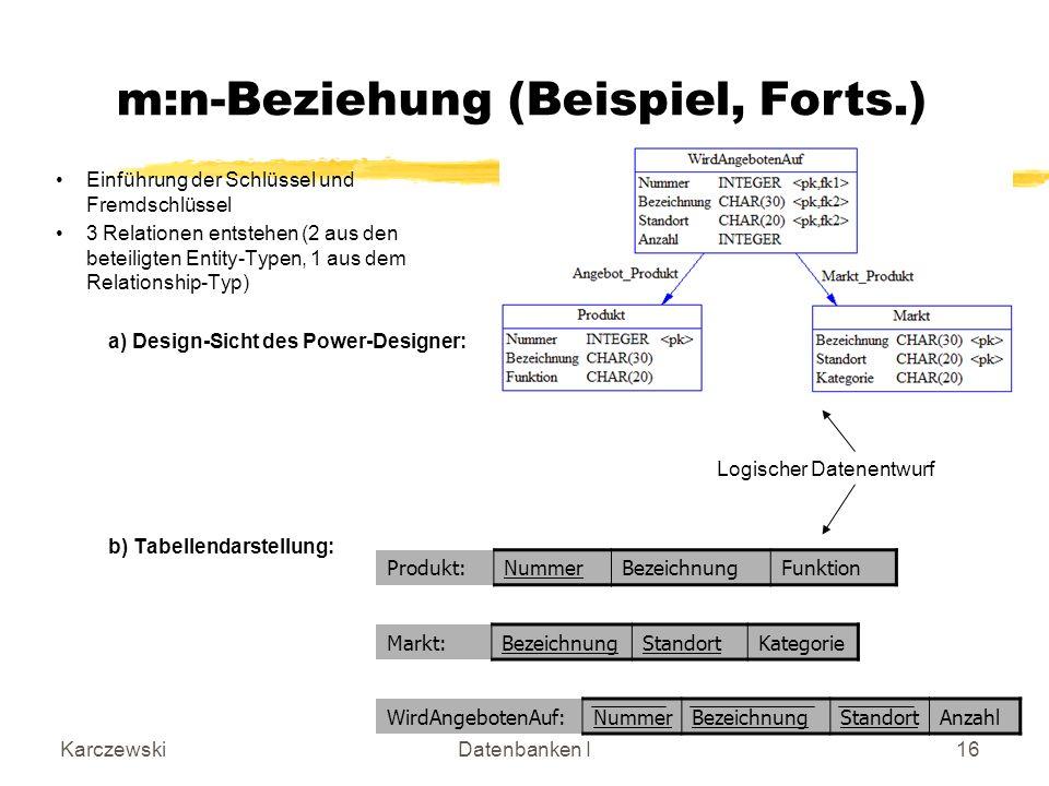 KarczewskiDatenbanken I16 Einführung der Schlüssel und Fremdschlüssel 3 Relationen entstehen (2 aus den beteiligten Entity-Typen, 1 aus dem Relationship-Typ) a) Design-Sicht des Power-Designer: b) Tabellendarstellung: Produkt:NummerBezeichnungFunktion WirdAngebotenAuf:NummerBezeichnungStandortAnzahl Markt:BezeichnungStandortKategorie Logischer Datenentwurf m:n-Beziehung (Beispiel, Forts.)