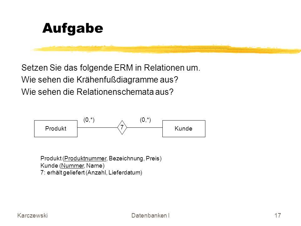 KarczewskiDatenbanken I17 Setzen Sie das folgende ERM in Relationen um.