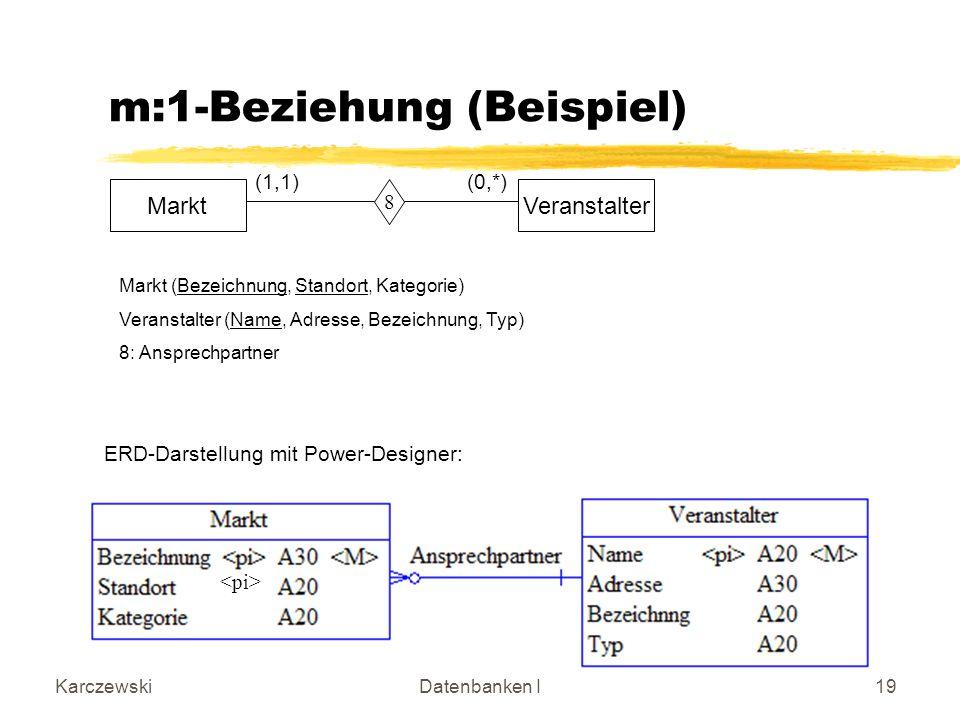 KarczewskiDatenbanken I19 m:1-Beziehung (Beispiel) MarktVeranstalter 8 (1,1) (0,*) Markt (Bezeichnung, Standort, Kategorie) Veranstalter (Name, Adresse, Bezeichnung, Typ) 8: Ansprechpartner ERD-Darstellung mit Power-Designer: