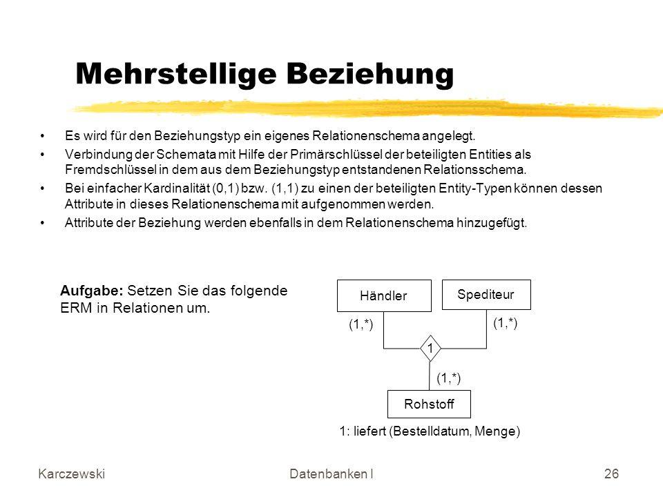 KarczewskiDatenbanken I26 Es wird für den Beziehungstyp ein eigenes Relationenschema angelegt.