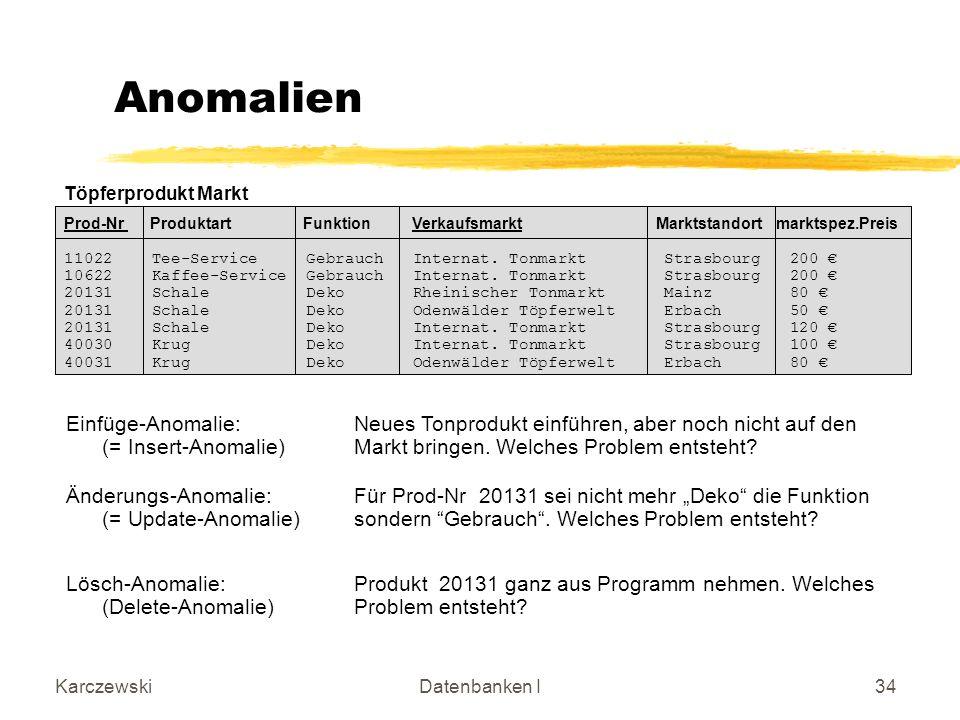 KarczewskiDatenbanken I34 Anomalien Änderungs-Anomalie:Für Prod-Nr 20131 sei nicht mehr Deko die Funktion (= Update-Anomalie)sondern Gebrauch.