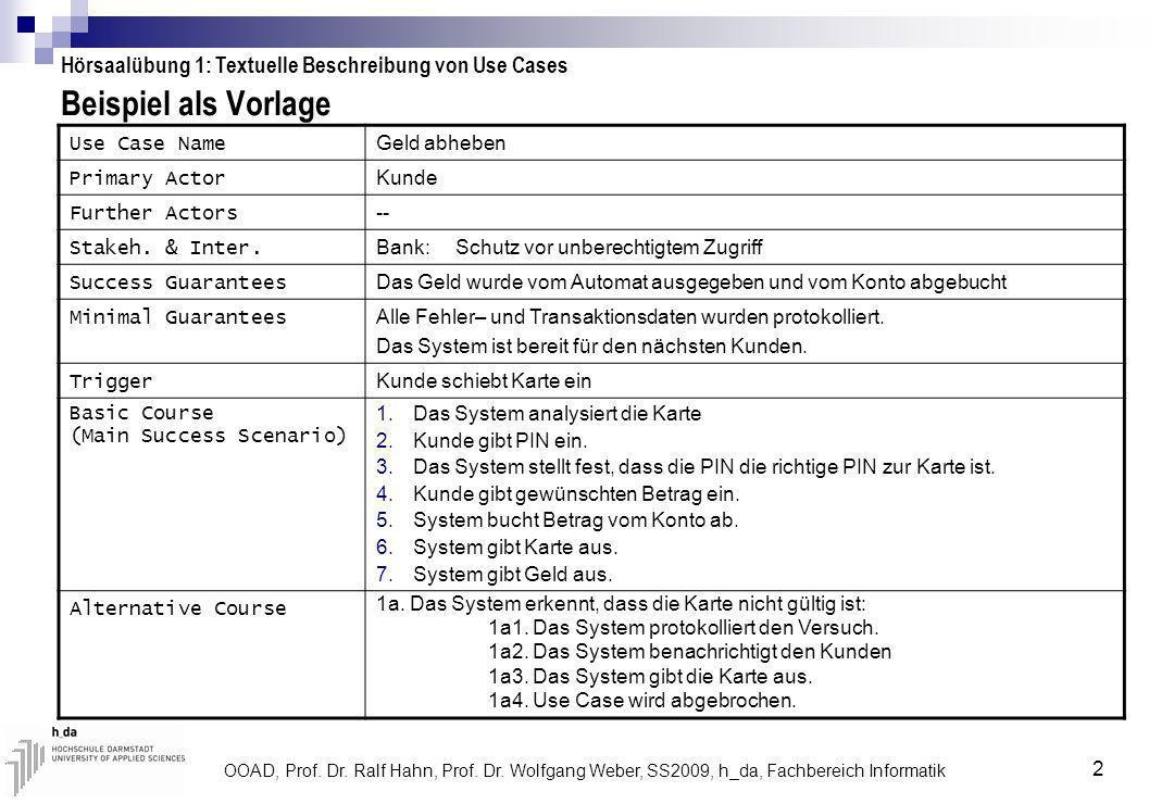 OOAD, Prof. Dr. Ralf Hahn, Prof. Dr. Wolfgang Weber, SS2009, h_da, Fachbereich Informatik 2 Beispiel als Vorlage Hörsaalübung 1: Textuelle Beschreibun