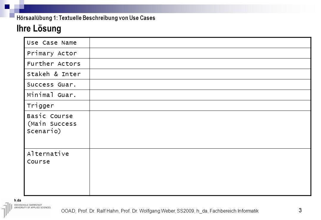 OOAD, Prof. Dr. Ralf Hahn, Prof. Dr. Wolfgang Weber, SS2009, h_da, Fachbereich Informatik 3 Ihre Lösung Hörsaalübung 1: Textuelle Beschreibung von Use