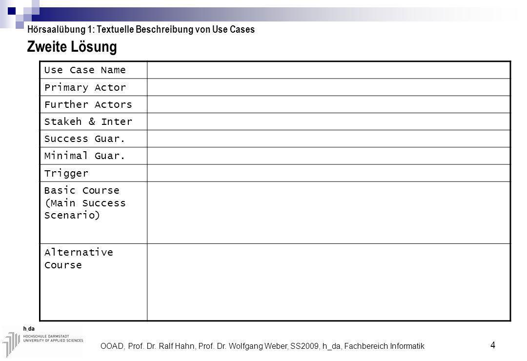 OOAD, Prof. Dr. Ralf Hahn, Prof. Dr. Wolfgang Weber, SS2009, h_da, Fachbereich Informatik 4 Zweite Lösung Hörsaalübung 1: Textuelle Beschreibung von U