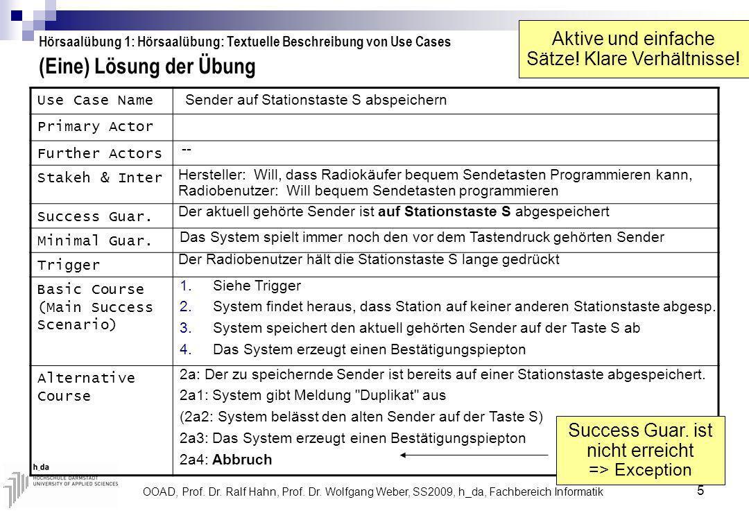 OOAD, Prof. Dr. Ralf Hahn, Prof. Dr. Wolfgang Weber, SS2009, h_da, Fachbereich Informatik 5 (Eine) Lösung der Übung Hörsaalübung 1: Hörsaalübung: Text