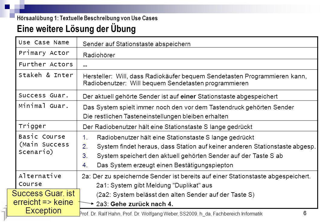 OOAD, Prof. Dr. Ralf Hahn, Prof. Dr. Wolfgang Weber, SS2009, h_da, Fachbereich Informatik 6 Eine weitere Lösung der Übung Hörsaalübung 1: Textuelle Be