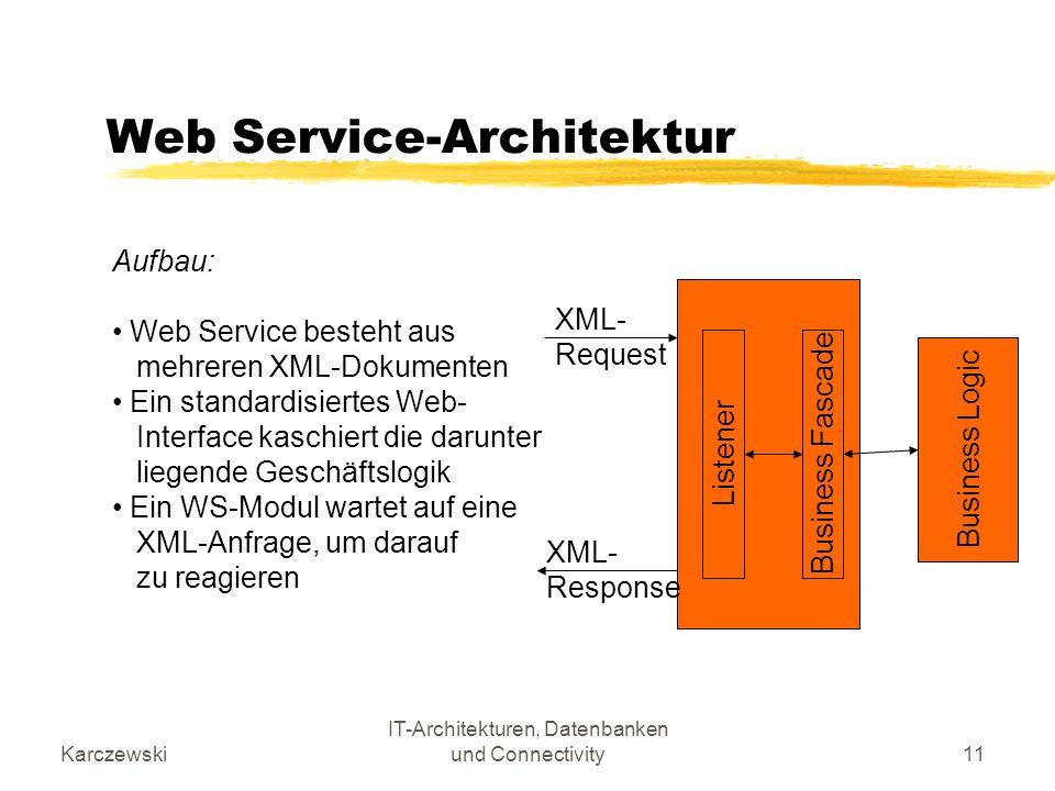 Karczewski IT-Architekturen, Datenbanken und Connectivity11 Web Service-Architektur Aufbau: Web Service besteht aus mehreren XML-Dokumenten Ein standa