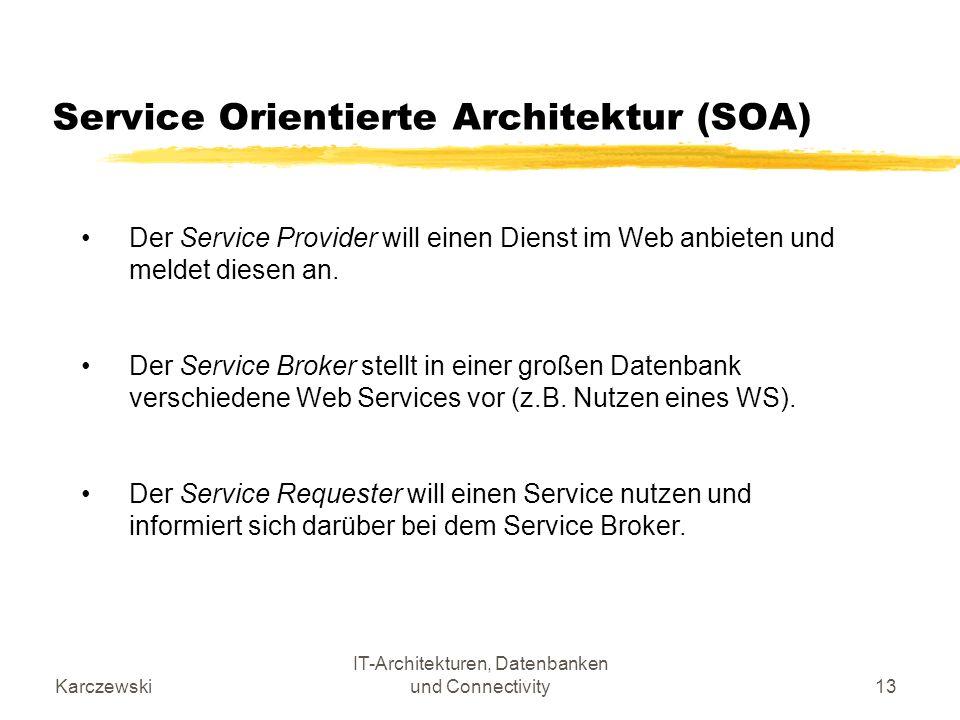 Karczewski IT-Architekturen, Datenbanken und Connectivity13 Service Orientierte Architektur (SOA) Der Service Provider will einen Dienst im Web anbiet