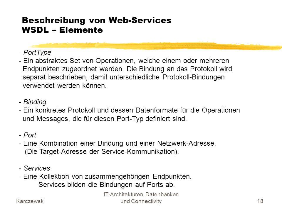 Karczewski IT-Architekturen, Datenbanken und Connectivity18 Beschreibung von Web-Services WSDL – Elemente - PortType - Ein abstraktes Set von Operatio